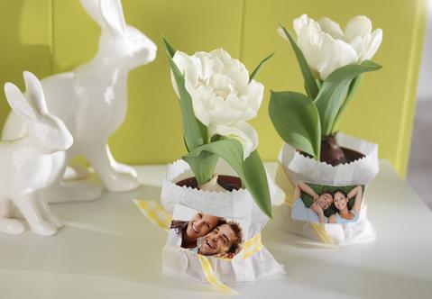 Sie möchten den Gästen Ihrer Oster-Tafel eine besondere Freude machen? Umhüllen Sie getopfte Tulpen mit Papiertütchen.  #fotosticker #fotoidee #dekoration #osterdeko #DIY #basteln #fototipp  Zu den Fotostickern: http://www.foto.at/digitalfotos-online-bestellen/fotosticker.html