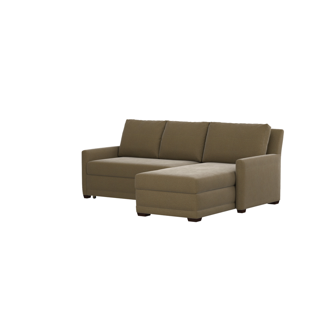 Reston 2 piece right arm chaise queen sleeper sectional sofa