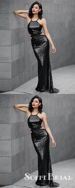 Photo of Charming Mermaid Halter Cross Back Sequins Black Long Prom Dresses, TYP0212 #pro…