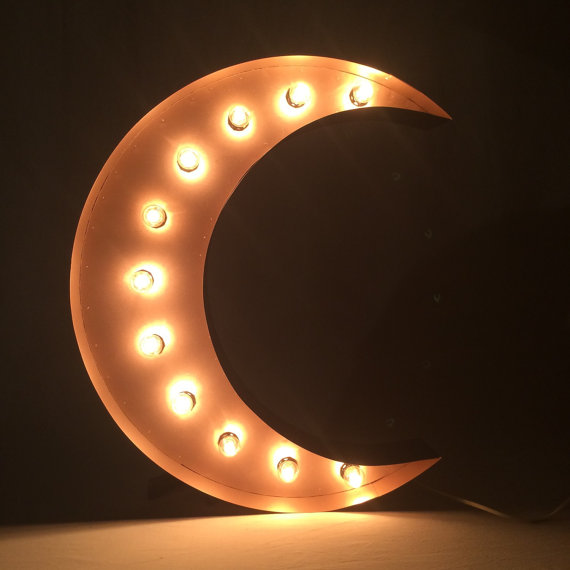 This listed is for one (1) 24 tall steel crescent MOON marquee with lights, with a rose gold finish. Each one is handcrafted of steel and is