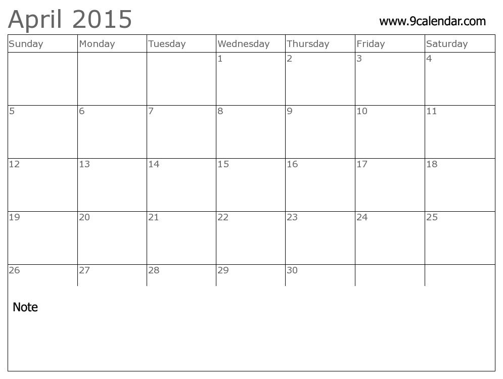 Best Collection Of April 2015 Printable Calendar April 2015