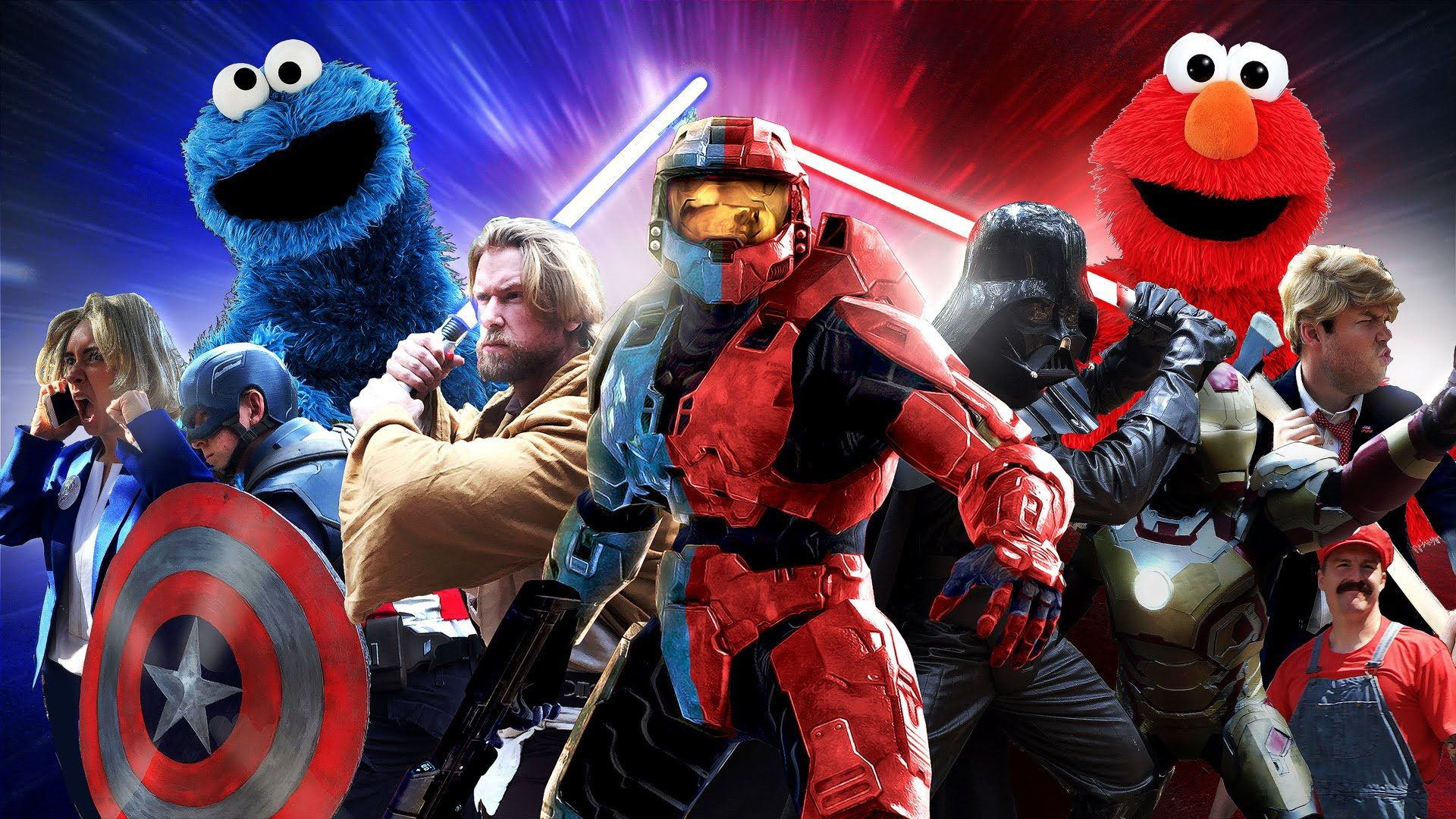 a live action battle between red and blue pop culture rivals