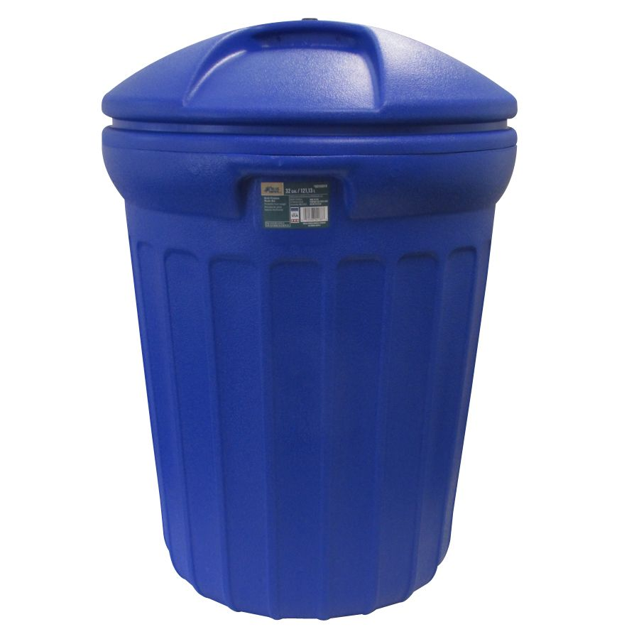 blue hawk 32-gallon blue plastic outdoor trash can with