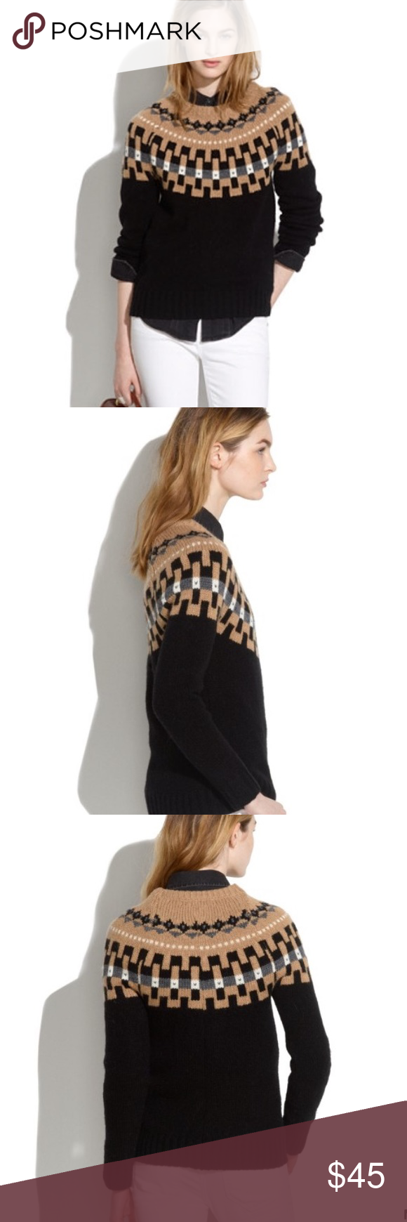 Madewell modern slope sweater Classic ski sweater from Madewell with the best neutral color combo. Wool blend dry clean only Madewell Sweaters Crew & Scoop Necks