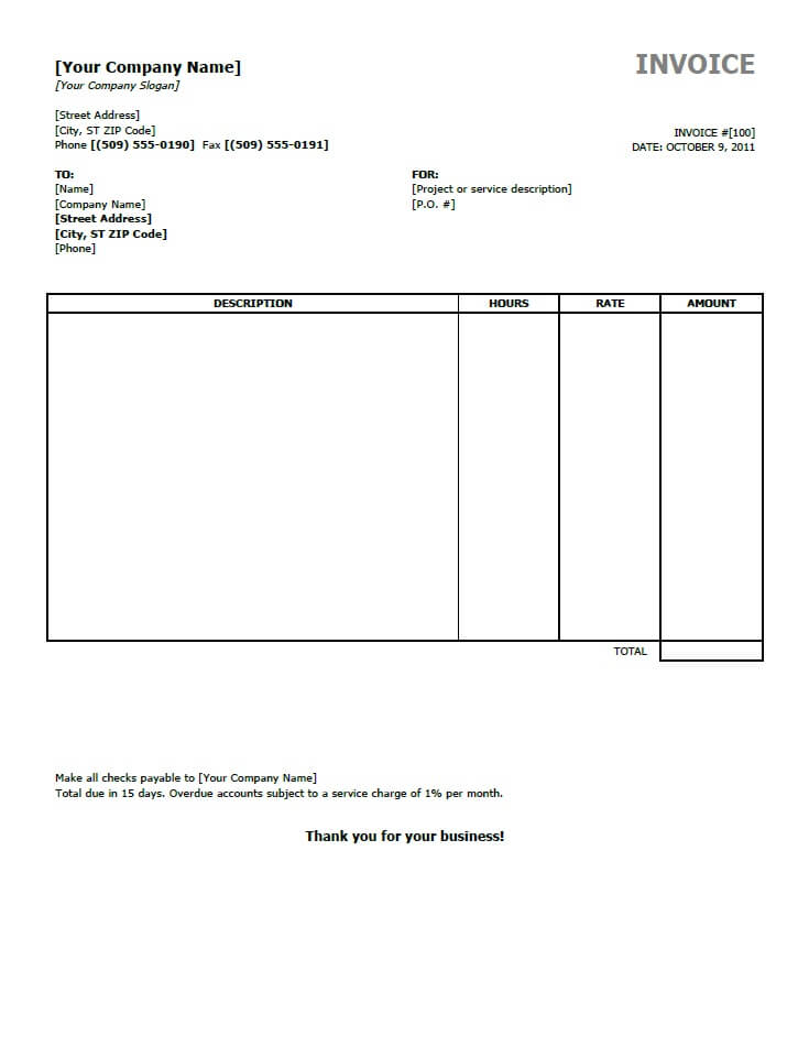 Example Of Invoices Templates Free Invoice For Word Excel Open Office Invoice Template Invoice Template Word Freelance Invoice Template