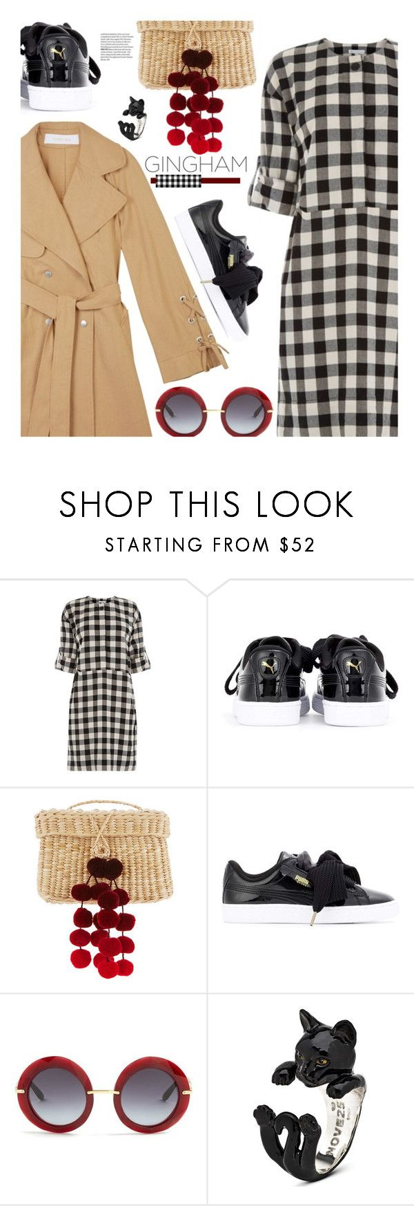 """Check Republic: Gingham Dress"" by hamaly ❤ liked on Polyvore featuring Nannacay, Puma, outfit, ootd, dresses and gingham"