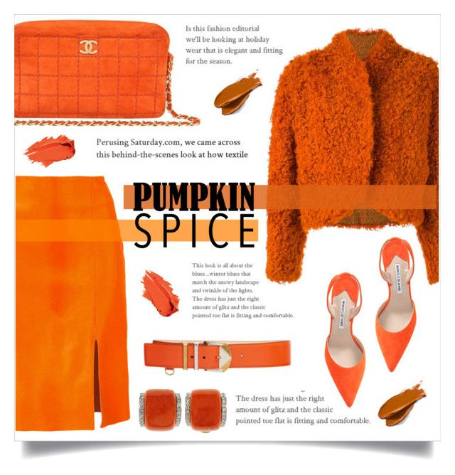 """#pumpkinspice"" by ifip ❤ liked on Polyvore featuring Kenzo, Diane Von Furstenberg, Manolo Blahnik, Chanel, Balmain and Versace"