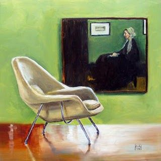 """6"""" x 6"""" painting by Kimberly Applegate - Womb Chair is so comfortable!"""
