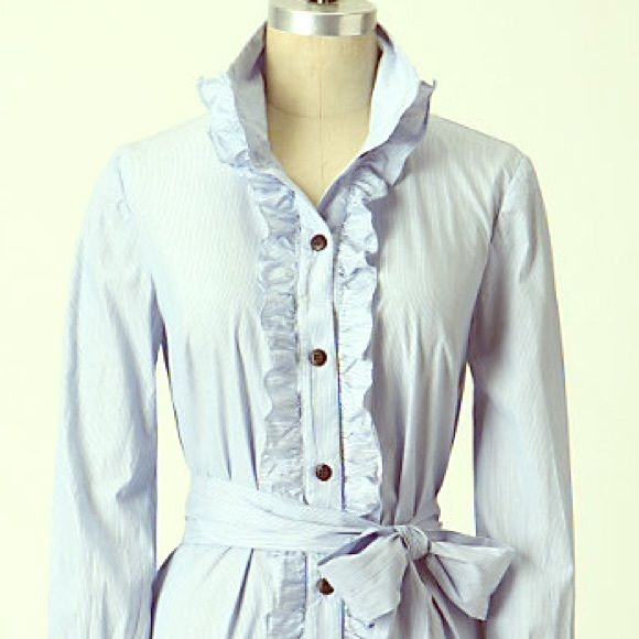 Blue Pinstriped Shirt Dress Shirt dress by Blue Bird Shirting from Anthropologie. Like New. Anthropologie Dresses