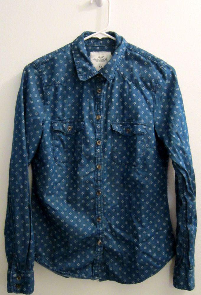 0d25c645be3 H&M Label of Graded Goods Shirt Womens Juniors Size 8 Denim Jean Western  #HMLabelofGradedGoods #ButtonDownShirt #Casual
