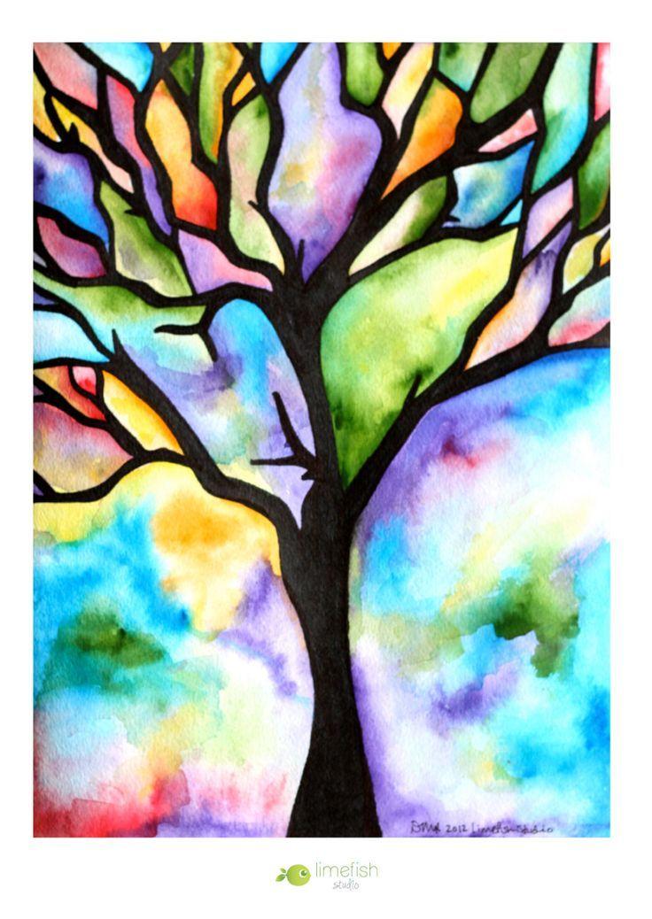 Original Watercolor Painting Tree Silhouette Colorful Rainbow