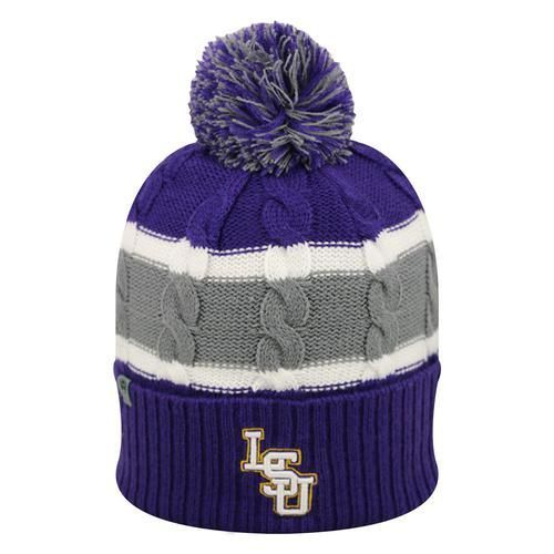 Youth Cable Knit LSU Tigers Louisiana State Beanie