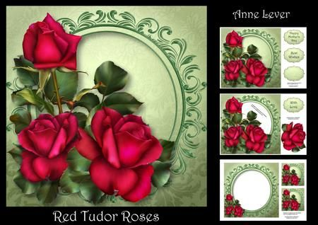 Red Tudor Roses by Anne Lever This lovely mini kit makes an 8x8 square topper with extra frame, decoupage, three greetings, a blank greetings tile, two gift tag toppers and a matching insert. The extra frame has shadow and background intact behind the flowers, making it easier to cut out. It features gorgeous red roses.
