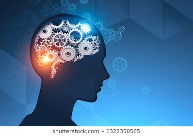 Silhouette of man head with brain with gears and cogs inside it over dark blue background Concept of thinking 3d rendering mock up toned image