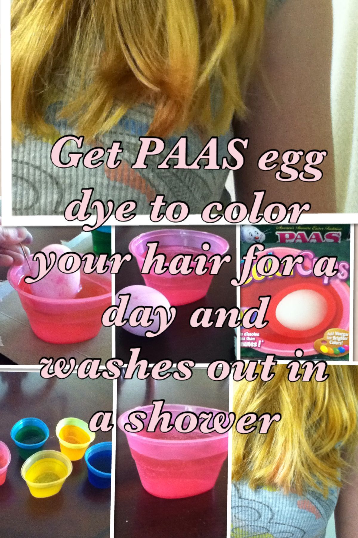 Get paas egg dye and dip your hair into the color that you