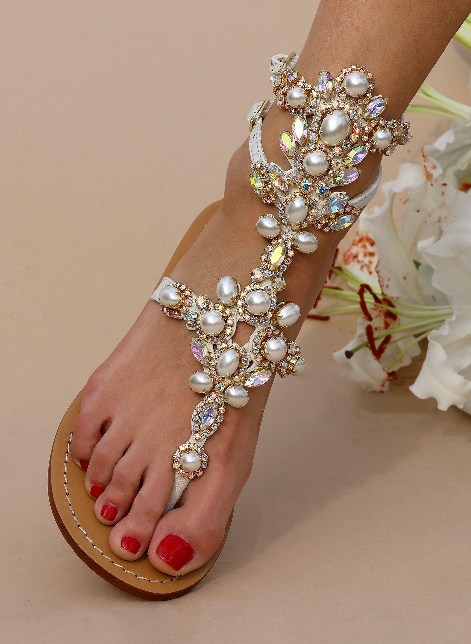 b2a3f6799e4a Aurora - Women s White Pearl Gladiator Sandals