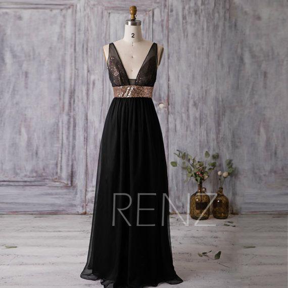 2016 Black Bridesmaid Dress Rose Gold Sequin Wedding Dress Deep V Neck Bridesmaid Dresses Long Chiffon Wedding Dress Sequin Black Chiffon Bridesmaid Dresses