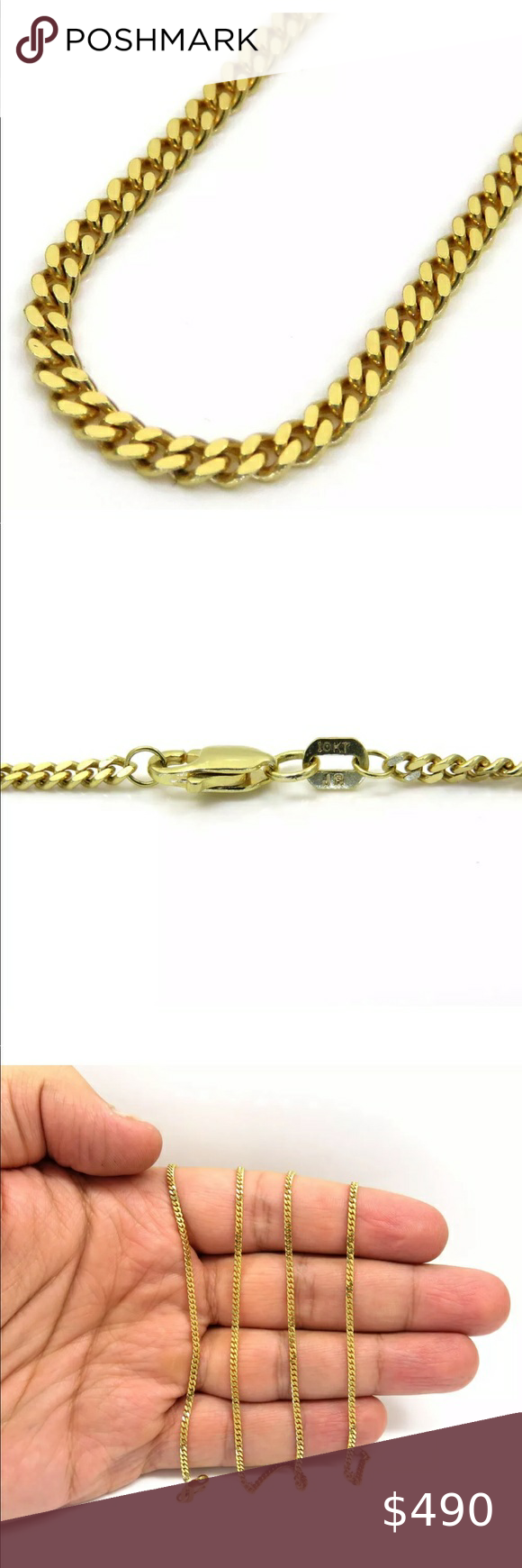 Real Solid 10k Gold Miami Cuban 2mm 24 Necklace In 2020 Mens Accessories Jewelry 10k Gold Gold