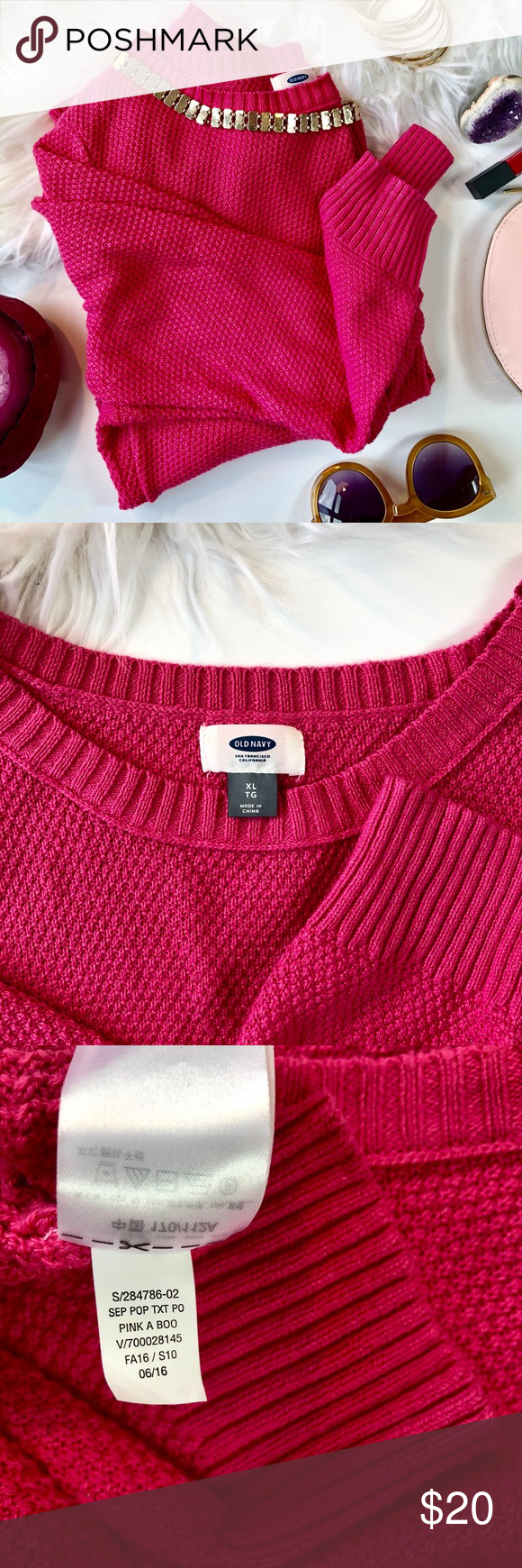 Old Navy Pink Chunky Knit Sweater - Size XL (EUC) Old Navy Pink Chunky Knit Sweater, Size XL. Perfect condition, worn once. This sweater fits on the slouchier side, and is soft & comfortable. Pair with distressed skinny jeans and booties for a sweet look with a pop of color! Old Navy Sweaters Crew & Scoop Necks