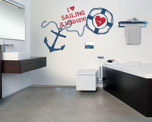 Wandgestaltung maritimes Wandtattoo mit Anker für echte Seefahrer - Wandtattoos Fürs Badezimmer