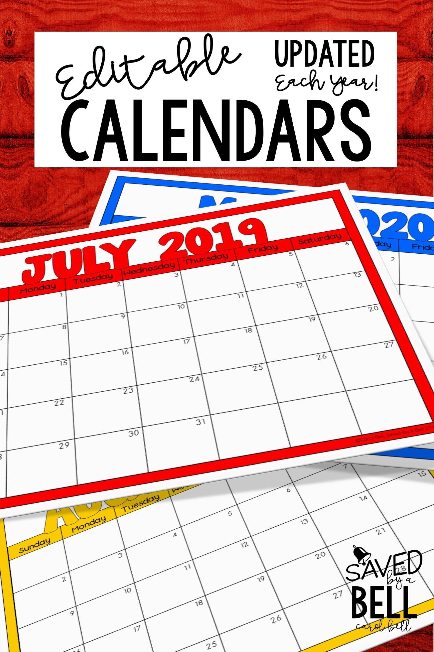 Editable Color Calendars