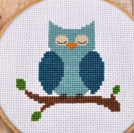 Cross Stitch Pattern, Owl Cross Stitch, Blue Owl, Instant Download, Nursery