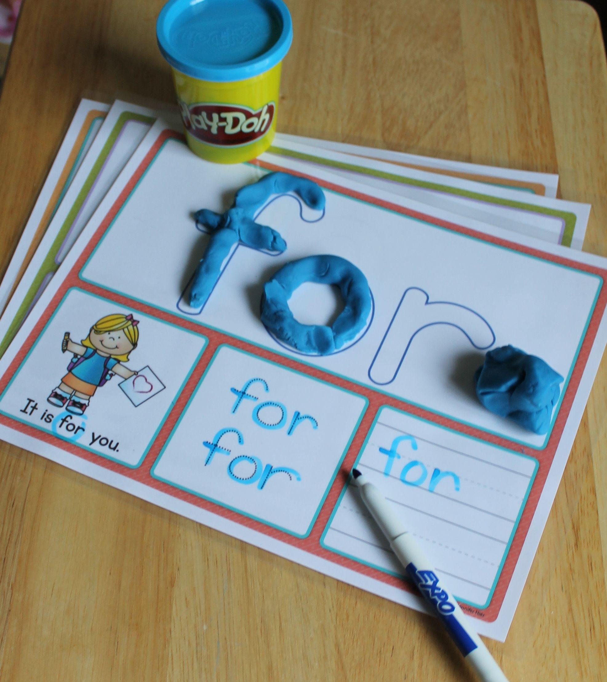Fry List 1 Sight Word Play Dough Activity Mats   Kind, Schule und Klasse