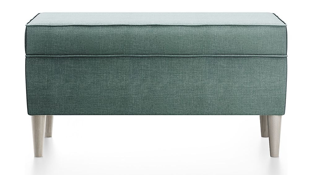 As You Wish Teal Upholstered Storage Bench Crate And Barrel