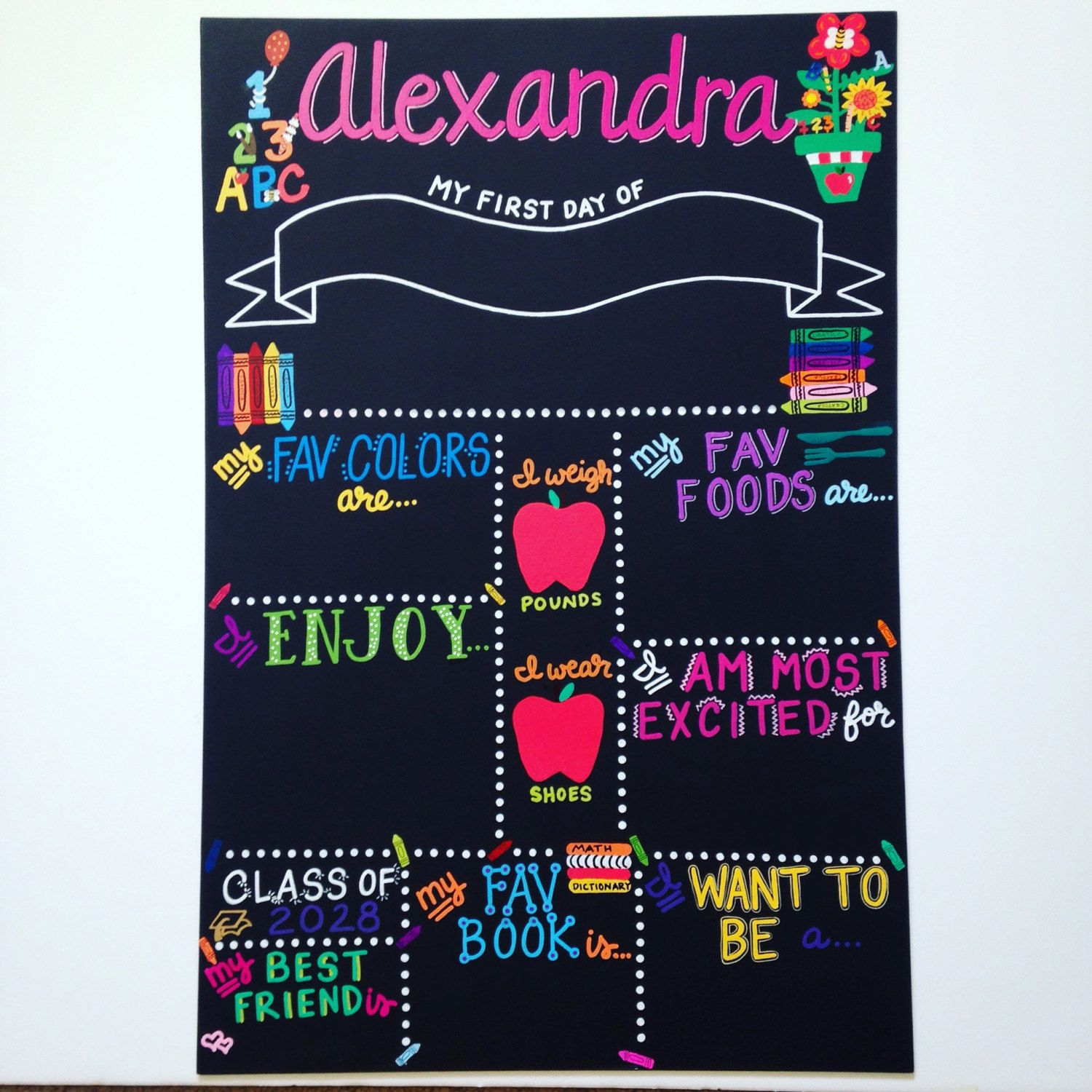 Hand Painted REUSABLE First Day of School Board by BeYoutifulVAriety ...