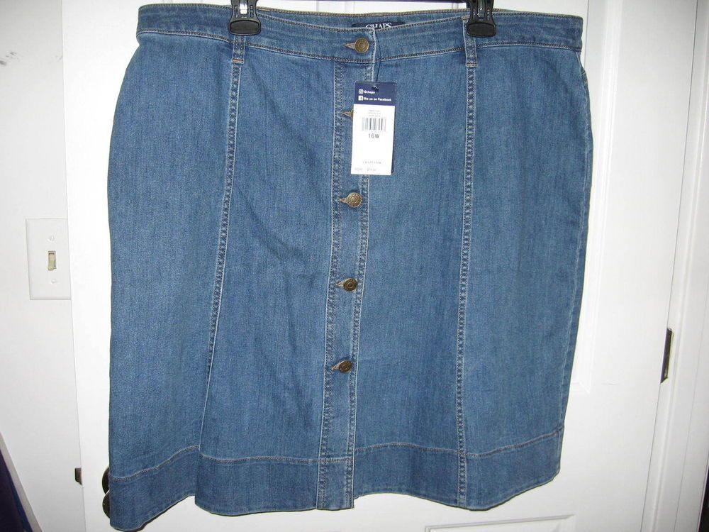 a48ac4559 Chaps Womens Plus Size 16W A-Line Denim Skirt Blue New with Tags #fashion # clothing #shoes #accessories #womensclothing #skirts (ebay link)