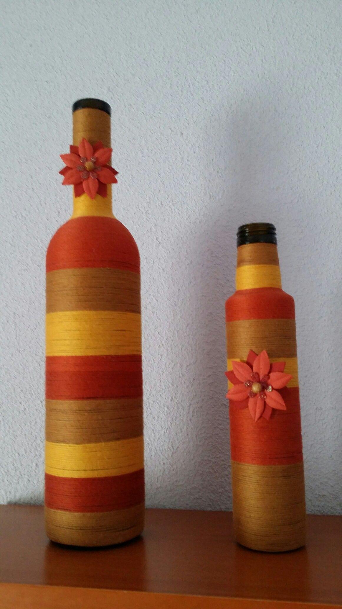 Botellas De Vino Y Aceite Recicladas By Mdt Garrafas Recicladas Garrafas De Vidro Decoradas Garrafas De Vidro