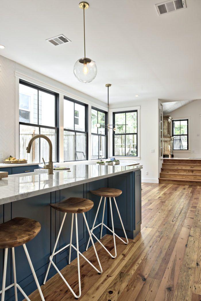 Modern Farmhouse Black Windows White Trim Wood Floors Swoon