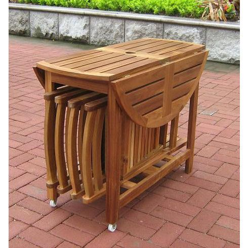 Wood Patio Set Outdoor Folding Table Folding Dining Chairs