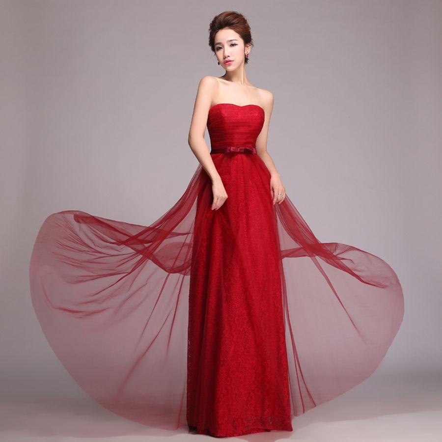 2015 marry long design lace fashion bride Wine red women\'s vestidos ...