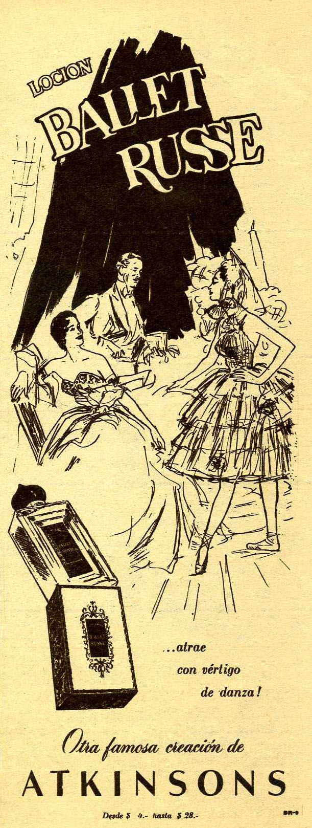 1951 ATKINSONS Ballet Russe Argentina ad (half page para Ti mag)