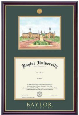 One Of Many Diploma Frames Available At The Baylor Bookstore Baylor University 11x14 Windsor Diploma Frame With Lithograph Diploma Frame Baylor Frame