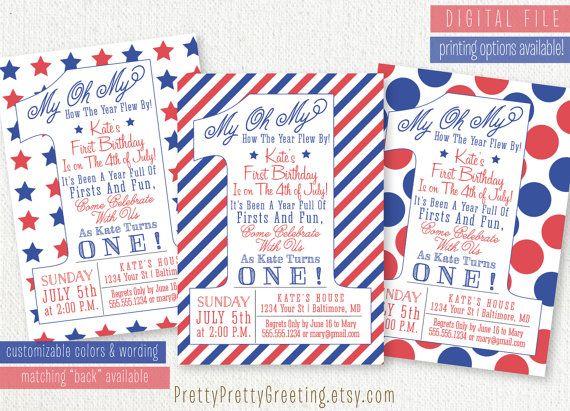 Patriotic 4th Of July Or Memorial Day Birthday Invitation