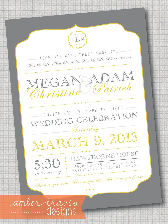 Vintage Wedding Invitation Traditional by AmberTravisDesigns