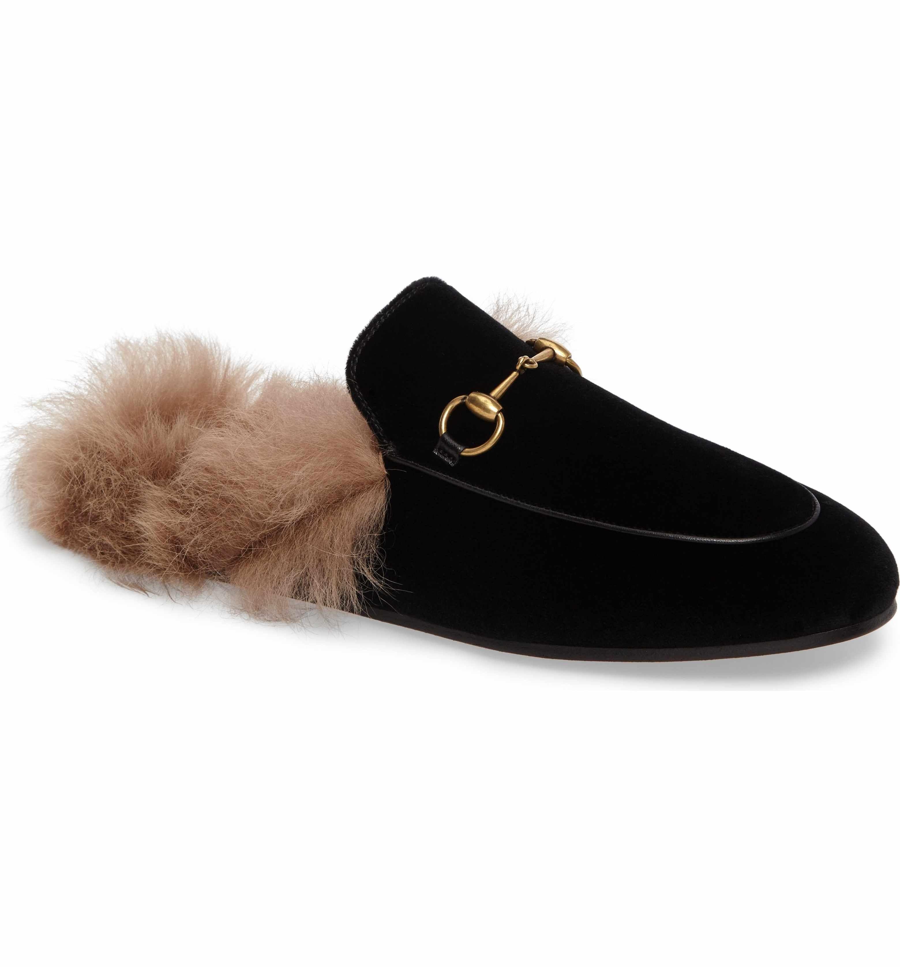 dcf9170d41e Gucci  Princetown  Genuine Shearling Mule Loafer - black velvet (Women)