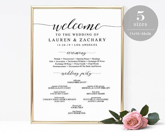 Wedding Program Sign Template Printable Wedding Program  Wedding