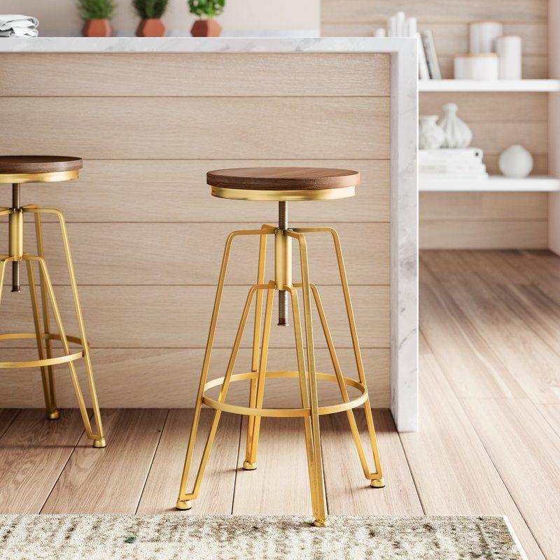 Maureen Swivel Solid Wood Adjustable Height Bar Stool Bar Stools