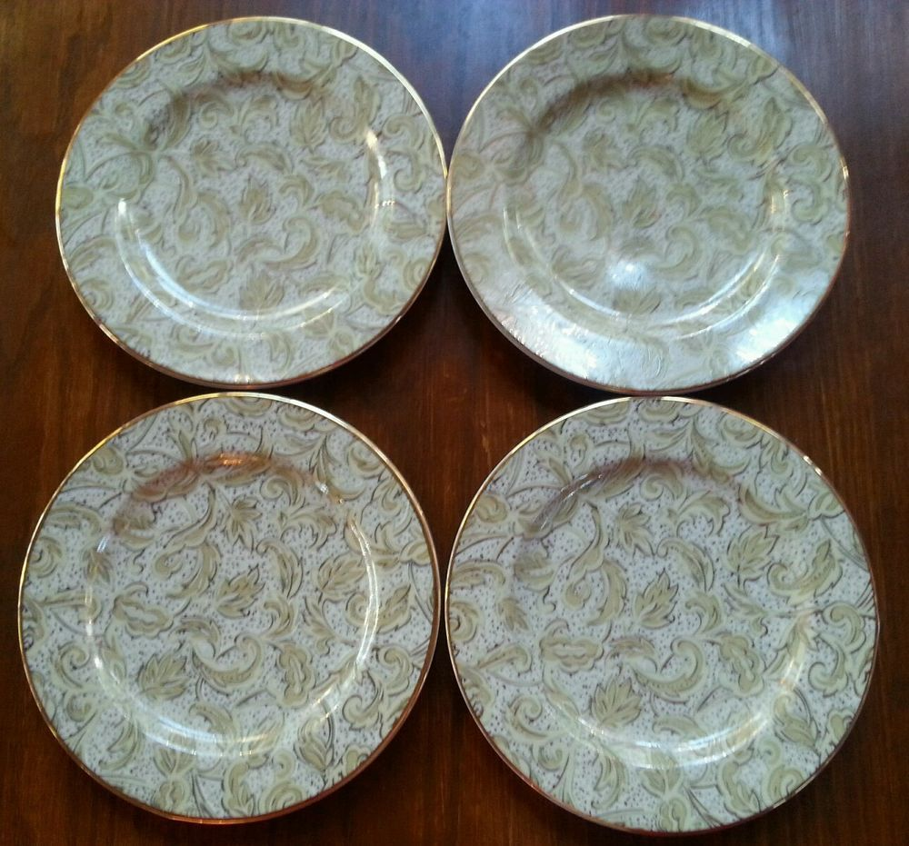 American Atelier Acapella Gold Plate Salad Dessert Holiday Christmas A Cappella