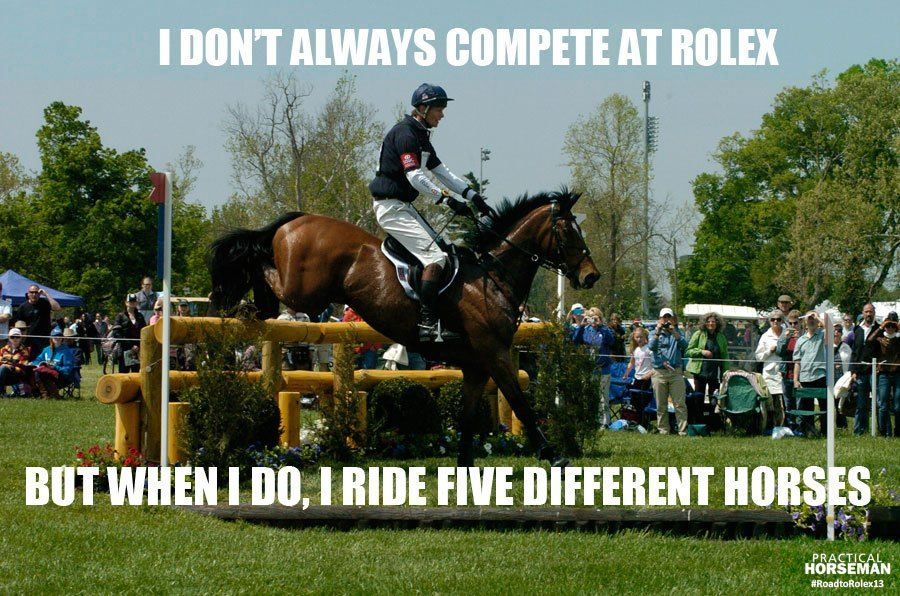 William Fox-Pitt: The most interesting eventer in the world! I don't always compete at Rolex, but when I do, I ride five different horses.   #RoadtoRolex13   Practical Horseman   Brought to you by Soft-Ride Equine Comfort Boots (www.softrideboots.com)