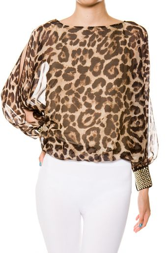 """""""Catwalk this way"""" leopard blouse with studded cuffs. Hard to not strut your stuff in this blouse! Click the pic to view:) Harlow & Liv Boutique❤"""