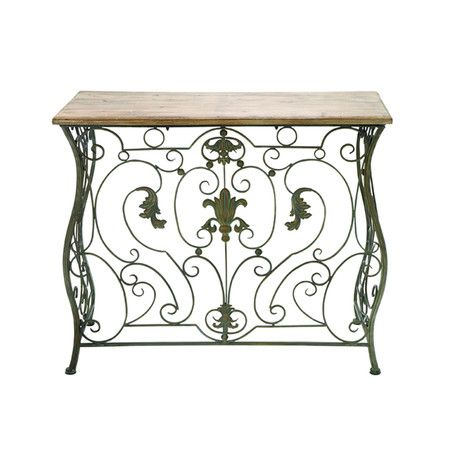 Wood Top Console Table With A Scrolling Metal Base Product Console