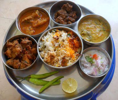 Indian Non Veg Thali Recipe For Spicy Chicken Fry Veg Thali
