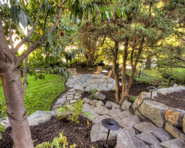 Landscaping under pine trees | Landscaping with rocks ...