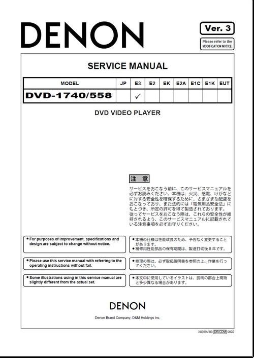 Denon DVD-558 , DVD-1740 , Service Manual version 3 * PDF format - operation manual