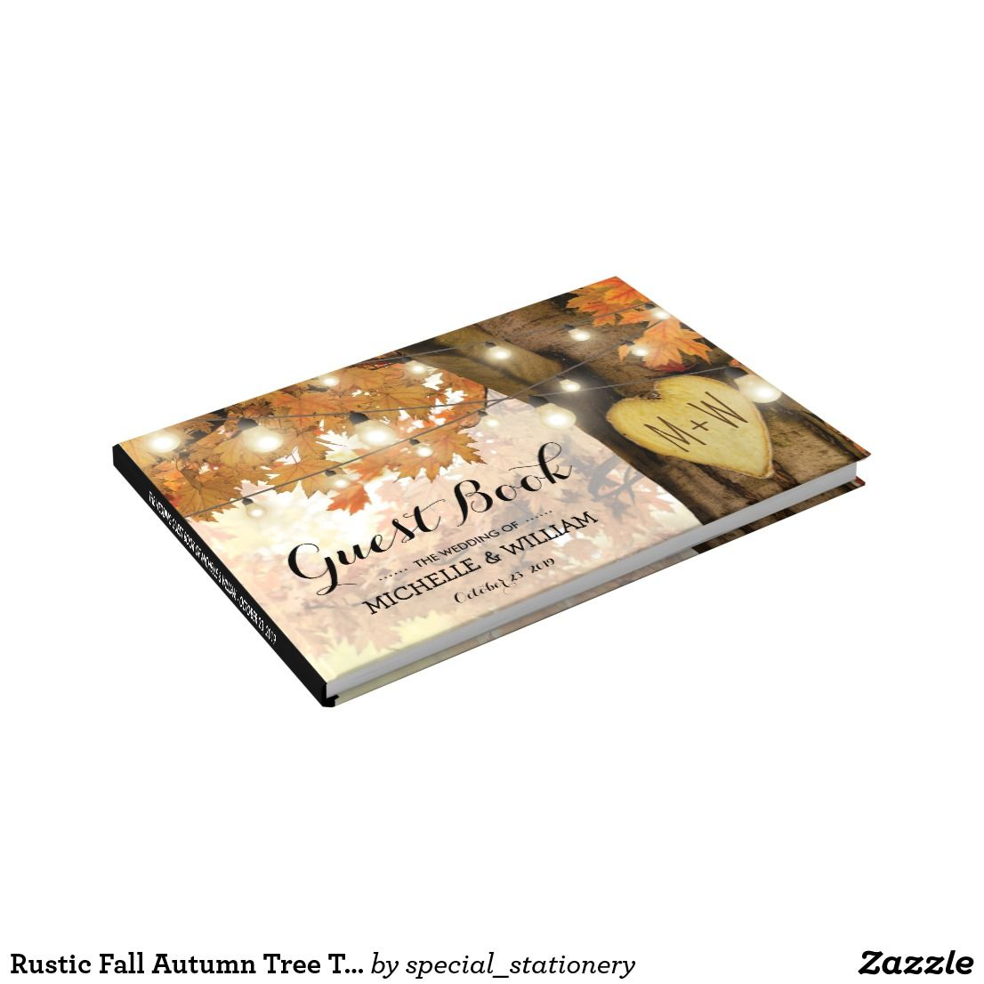Rustic Fall Autumn Tree Twinkle Lights Wedding Guest Book Autumn ...