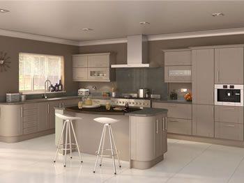 Cashmere kitchen with grey quartz worktop google search for Matt black kitchen doors